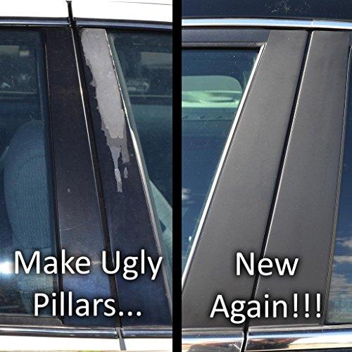 Matte Flat Black Pillar Post Trim Cover fits: 2005-2008 Dodge Magnum All Models - Ferreus Industries - PIL-008-MB-02
