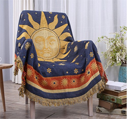 Chengsan Sided Use Sofa Chair Tapestry Couch Throw with Decorative Tassels, 50X70 Inch Couch Cover (Sun Moon Stars) (Celestial Throw Blanket)