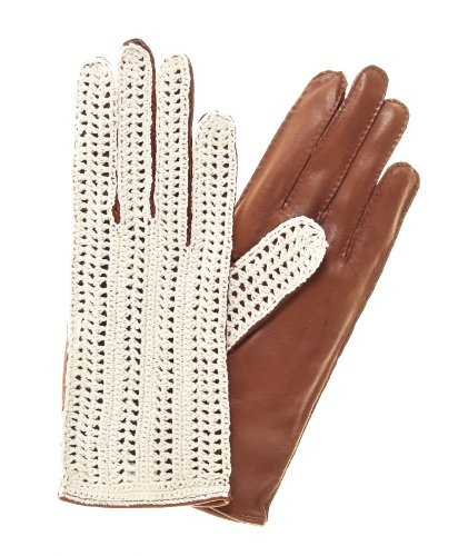 Fratelli Orsini Women's Crochet and Leather Driving Gloves Size 7 1/2 Color Brown by Fratelli Orsini
