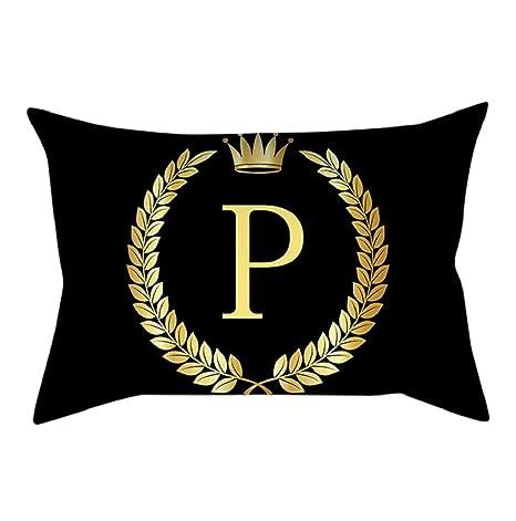 lonupazz Fundas de Almohada Rectangular Negro y Oro Carta ...