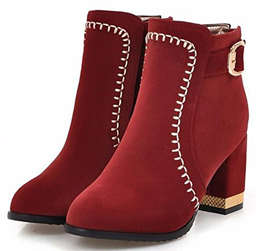 IDIFU Womens Fashion Mid Chunky Heels Faux Suede Ankle Boots With Back Zipper Red LrLo5M3Fn