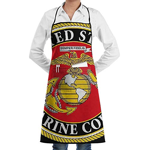 United States Marine Corps Adjustable Personalized Apron with Pockets,Men & Women Cute Apron Bib Apron for Cooking Baking - States Personalized Marine United