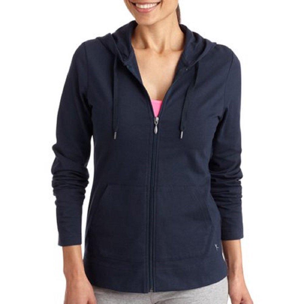 Danskin Now Women's Dri-More Core Zip up Hoodie Sweatshirt, Navy, Large