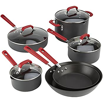 Emeril Lagasse 63045 Hard Anodized Dishwasher Safe Nonstick 10 Piece Pots and Pans Cookware Set, Red