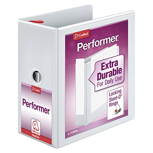 Clear White Overlay (Cardinal Cardinal Xtravalue Clearvue Locking D-Ring Binders (CRD19060))