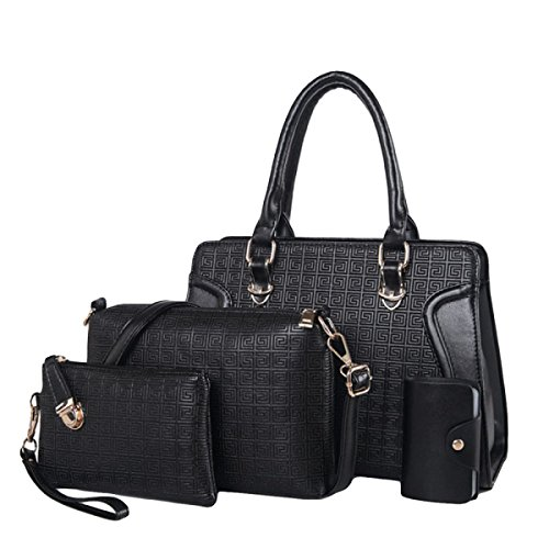 à Main Leisure De Messenger Ensembles Ladies paquet Bandoulière PU Sac Sac Quatre Black Bag Sous à Fashion p8vwBCx