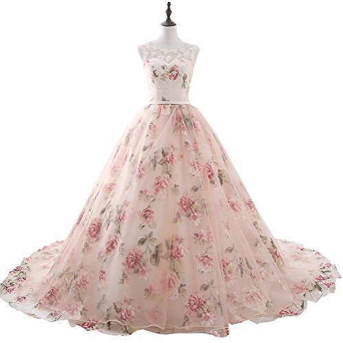 LMBRIDAL Women's Ball Gown Lace Floral Print Long Evening Prom Dresses Pink...