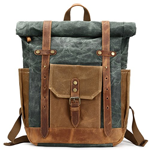 Mwatcher Waterproof Waxed Canvas Leather Backpack College Weekend Travel Rucksack 15in laptops Backpack (Lake green)