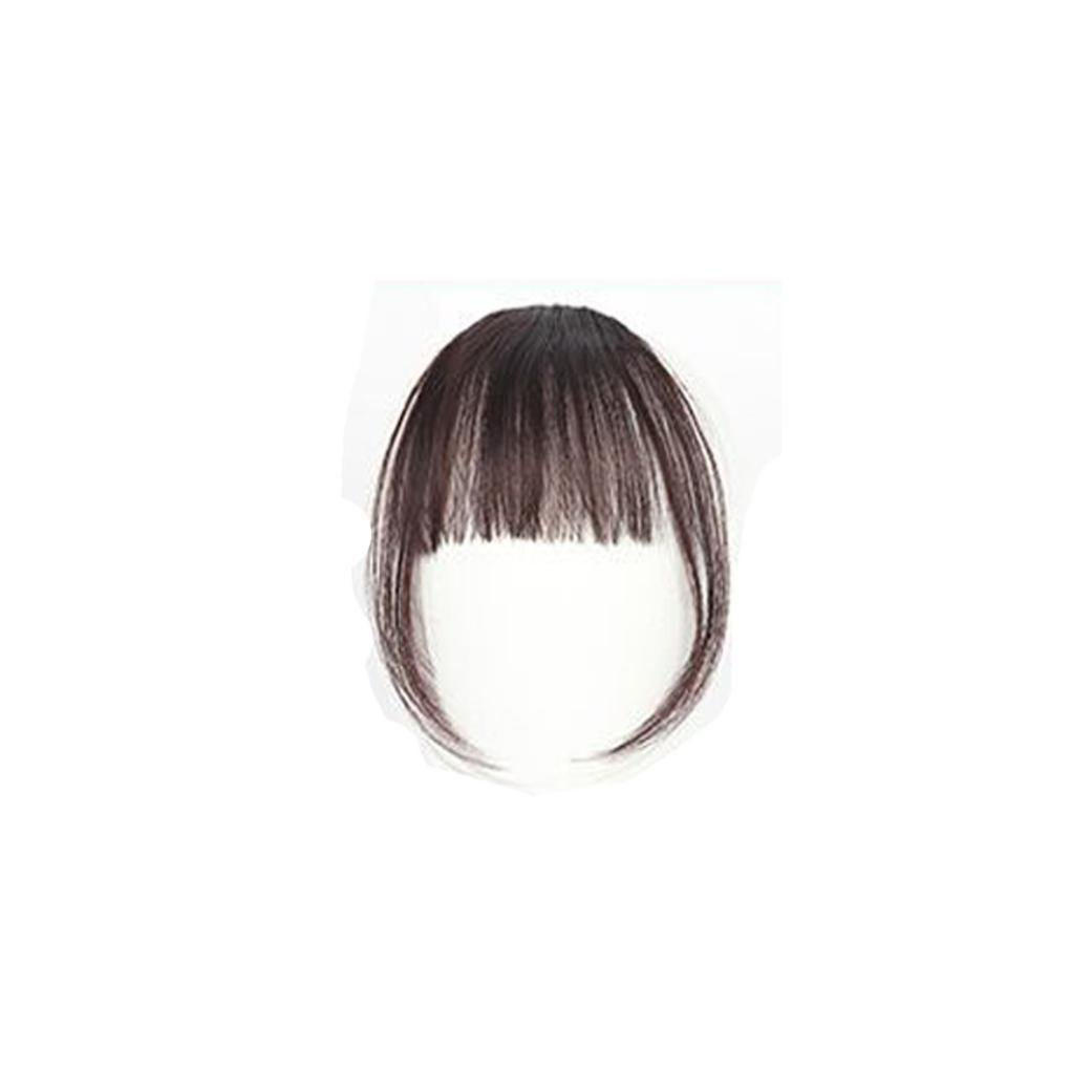 Ecurson Clip On Clip In Front Hair Bang Fringe Hair Extension Piece (C)