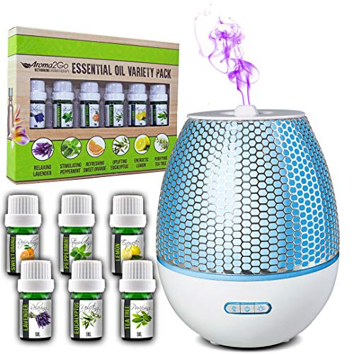 Simply Diffusers Premium Aromatherapy Diffuser with Oils Bundle GIFT SET includes 6 x 100% Pure Essential Oils with LED Lights 200mL Water Tank, Timer, Auto Shut Off, BPA Free in Color White