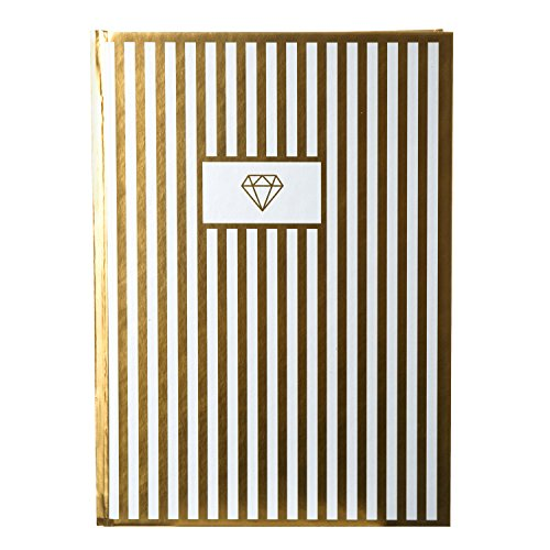 (Goldbuch 64 298 Notebook A5 Deluxe Diamond 200 Chamois Coloured Blank Pages, Special Gold Effect Finish, White/Gold, 64298)