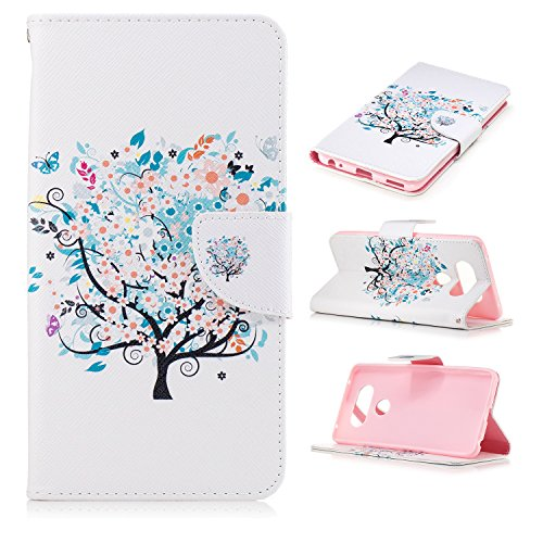 LG V20 Cell Phone Covers, lg v20 cases with wallet PU Leather Credit Card Slots Holder Kickstand Slim Fit Shock Absorption Full Body Hybrid Armor Protective Best Phone Case for LG V20 Girl-Flower Tree