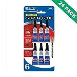 Super Gel Glue, Bazic Metal Super Glue Plastic Single Use (6 Pack, 24 Units)