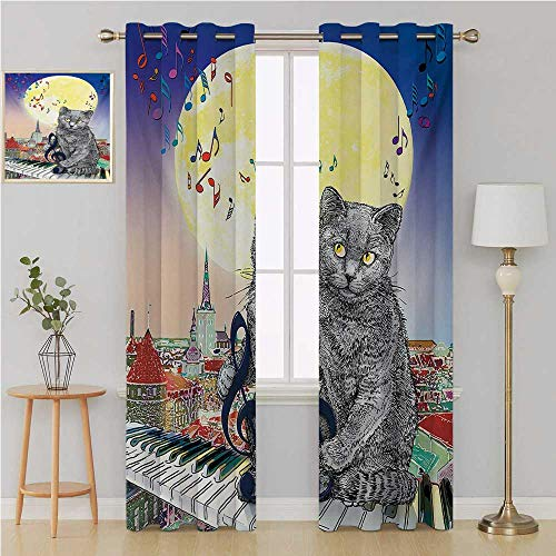 Benmo House City Gromit Curtains Waterproof Window Curtain,Musical Notes Cat with The Keyboard on Rooftops in Night Sky Old Town Full Moon Art Print Doorway Curtain 120 by 108 Inch Multi