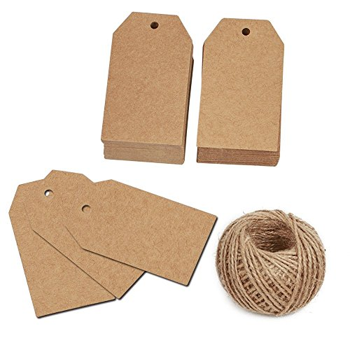 KINGLAKE 100 Pcs Gift Tags with String Kraft Paper Vintage Wedding Hang Tags 7x4cm with 100 Feet Natural Jute Twine ()