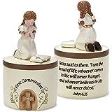 First Communion Praying Girl John 6:35 Resin Stone 5 inch Keepsake Box
