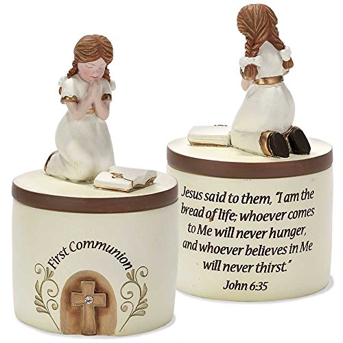 Dicksons First Communion Praying Girl John 6:35 Resin Stone 5 inch Keepsake -