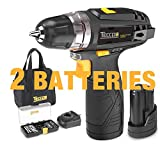 Cordless Drill, TECCPO Compact Drill set with 2Pcs 2000mAh Batteries, 2-Speed, 20+1 Torque Setting, Fast Charger, 265In-lbs Torque, 3/8' Chuck, 29pcs Accessories - TDCD01P