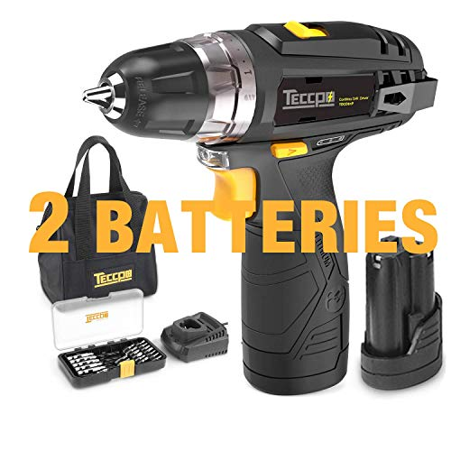 Cordless Drill, TECCPO Compact Drill set with 2Pcs 2000mAh Batteries, 2-Speed, 20+1 Torque Setting, Fast Charger, 265In-lbs Torque, 3/8