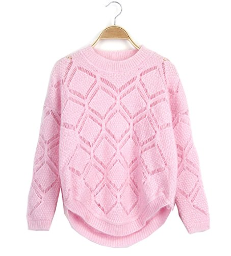 LemonGirl Womens Crewneck Candy Geometic Diamond Hollow out Pullover Sweater (Top 10 Family Friendly Halloween Movies)