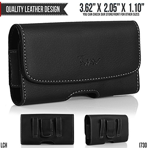 PCD CDM-8945 Belt Pouch, TMAN [Leather Horizontal] Metal Clip Holster / Magnetic Closure Case, Cover with Belt Loop Carrying Protective - Fits Cellphone without any Case ()