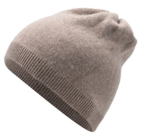 Women's GrilWomen's Grils Winter Pure Slouch Cashmere Removable Real Large Raccoon Fur Pom Pom Knit Beanie Hat (khaki)