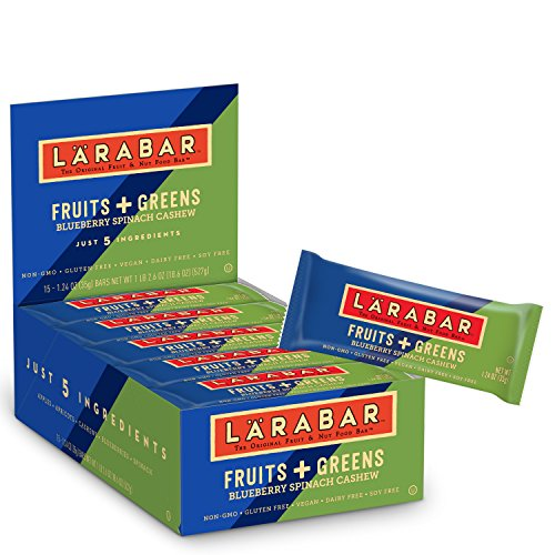 Larabar Gluten Free, Fruits And Greens Bar, Blueberry Spinach Cashew, 15-1.24 oz. Bars, Vegan, Dairy Free, Soy Free, Gluten Free Bars