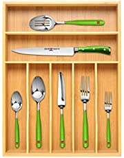 $24 » Bamboo Kitchen Drawer Organizer Tray for Flatware - Best Cutlery Tray for Silverware and Kitchen Utensils, 17 x 13 inches