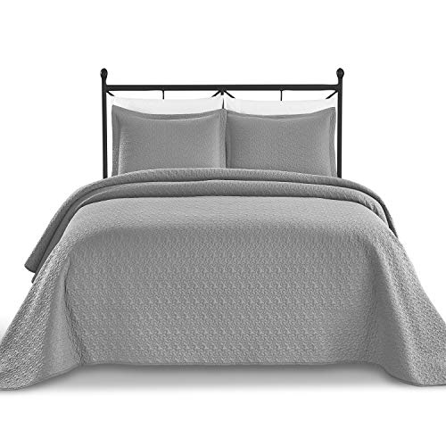 (Luxe Bedding Solid Color Lightweight Oversize Cotton Filled Stitch 3-piece Jigsaw Bedspread Coverlet Set (King/California King, Charcoal))