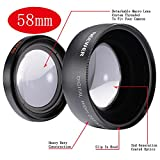 Neewer® 58mm 0.45x Wide Angle Lens with Macro for Canon Digital EOS Rebel T1i, T2i, T3, T3i, T4i, T5i, SL1, EOS 60D, EOS 70D, 50D, 40D, 30D, EOS 5D, EOS 1D, EOS 5D Mark 2, EOS D Digital SLR Cameras Which Has Any Of These (18-55mm, 55-250mm, 100-300mm, 18-250mm, 70-300mm, 75-300mm, 50mm 1.4 , 55-200mm. 24mm) Canon Lenses