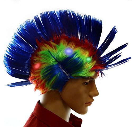 Dazzling Toys Wiggling Punk Blinking LED, Blue and Colored Wig. One per (Tina Turner Costumes For Halloween)