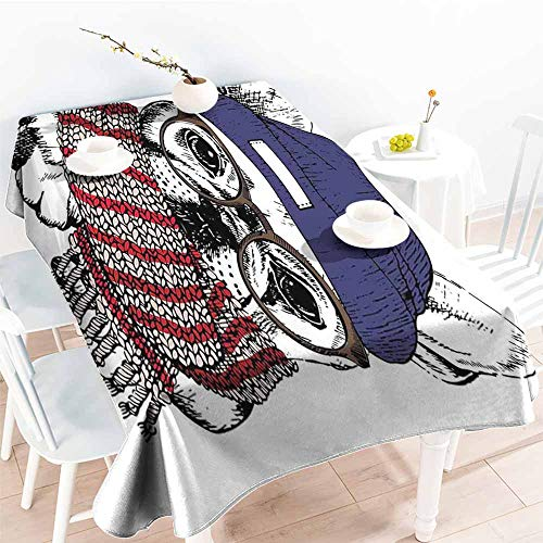 Onefzc Elastic Tablecloth Rectangular,Bulldog Hand Drawn Style Portrait of Cozy Winter Dog Wearing a Scarf Beanie and Glasses,Dinner Picnic Table Cloth Home Decoration,W54x72L Multicolor