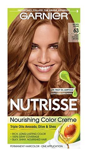 Garnier Nutrisse Nourishing Color Creme [63] Light Golden Brown 1 ea (Medium Brown Hair Color With Blonde Highlights)