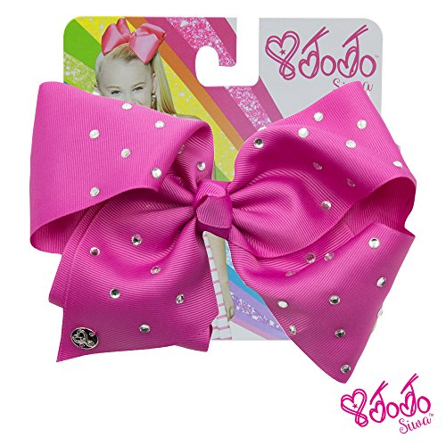 JoJo Siwa Signature Collection Hair Bow with Rhinestones - Berry With Sticker Patch Set Included