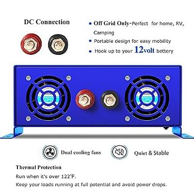 XYZ INVT 1500W Power Inverter 12V DC to 110V 120V AC with LED Display Dual AC Outlets for RV Truck Boat (1500W12V): Automotive