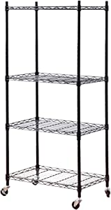 2YOU 4-Shelf Metal Shelves with Wheels , Heavy Duty Wire Shelving Unit, Garage and Srotage Shelf Certified NSF, Steel Storage Rack for Kitchen/Industrial/Showroom, Black (14