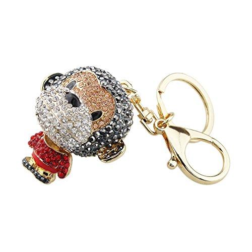 FOY-MALL Fashion Monkey Crystal Rhinestone Alloy Women Car or Bag Keychain Key Ring Favors H1044