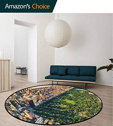 (United States Warm Soft Cotton Luxury Plush Baby Rugs,Central Park From The Air Surrounded By Buildings Downtown View Kids Teepee Tent Game Play House Round Round-35 Inch,Fern Green Sand Brown)