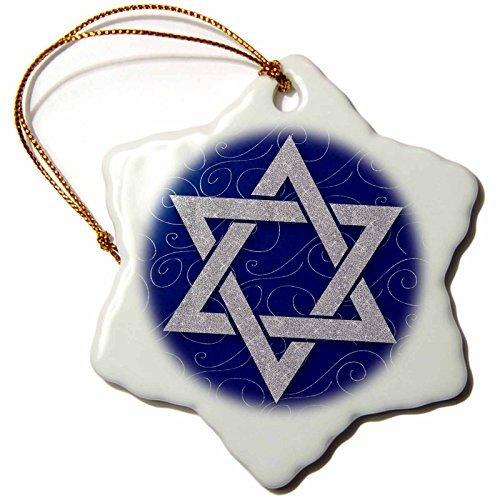 Christmas Ornament Doreen Erhardt Hanukkah Collection - Star of David Faux Silver Glitter on Blue and Silver Swirls Hanukkah - Snowflake Porcelain Ornament ()