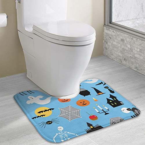Pomduct Halloween Clipart Vector Image Personalized Memory Sponge Bath Mat U-Shaped Carpet Non-Slip for Bathroom Toilet -