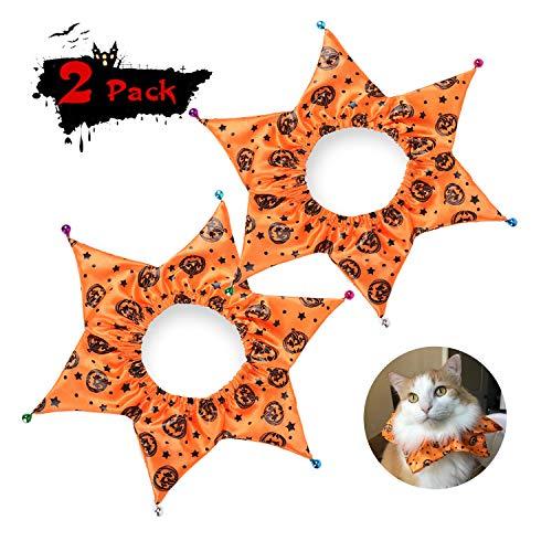 Qkurt Pet Collar Halloween Design, Halloween Pumpkin Pattern Cute Cat & Dog Collar with Bells