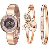 Xinge Watch Bangles Bracelet Set for Women Rose Gold Tone 3 Pieces XG181005