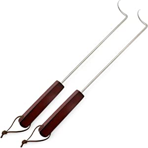 Muchfun 2Pcs 18 Inches Food Flipper Hooks, Stainless Steel BBQ Meat Turner Hook for Grill or Griddle