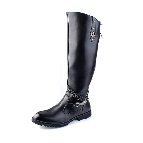 57fdca549f7 ... Moda para Hombre Rodilla Bota Alta Botas de Moto Casual Personalidad  Remache Rustproof Metal Logo Rodilla Bota Alta  Amazon.es  Zapatos y  complementos