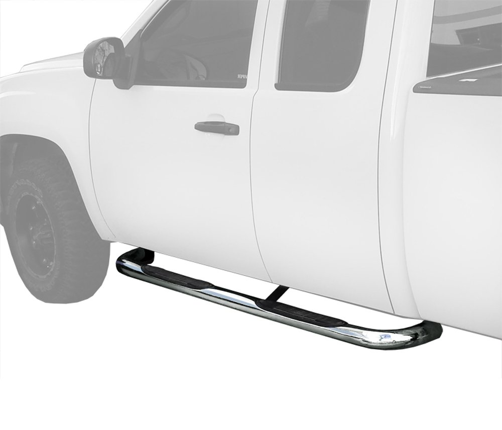 MaxMate Custom Fit 1999-2018 Chevy Silverado/GMC Sierra 1500/2500LD, 01-19 Chevy Silverado/GMC Sierra 2500/3500HD Extended/Double Cab Stainless Steel 3'' Side Step Rails Nerf Bars Running Boards by MaxMate (Image #1)