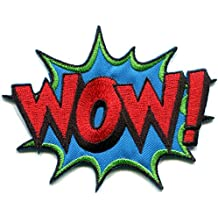 WOW! superhero comics retro fun embroidered applique iron-on patch new