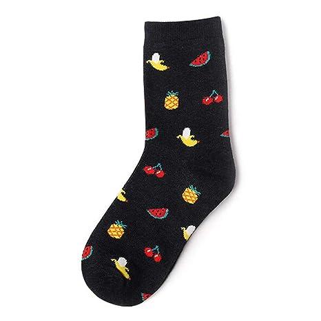 DCPPCPD Cat Fruta Calcetines de Invierno Cartoon Sushi Comida Creativa Vida Imprimir Calcetines Cortos Masculinos y