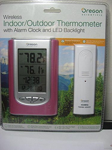 Oregon Scientific Wireless Indoor/Outdoor Thermometer with Alarm Clock and Led Backlight - Clock Scientific Manual Oregon