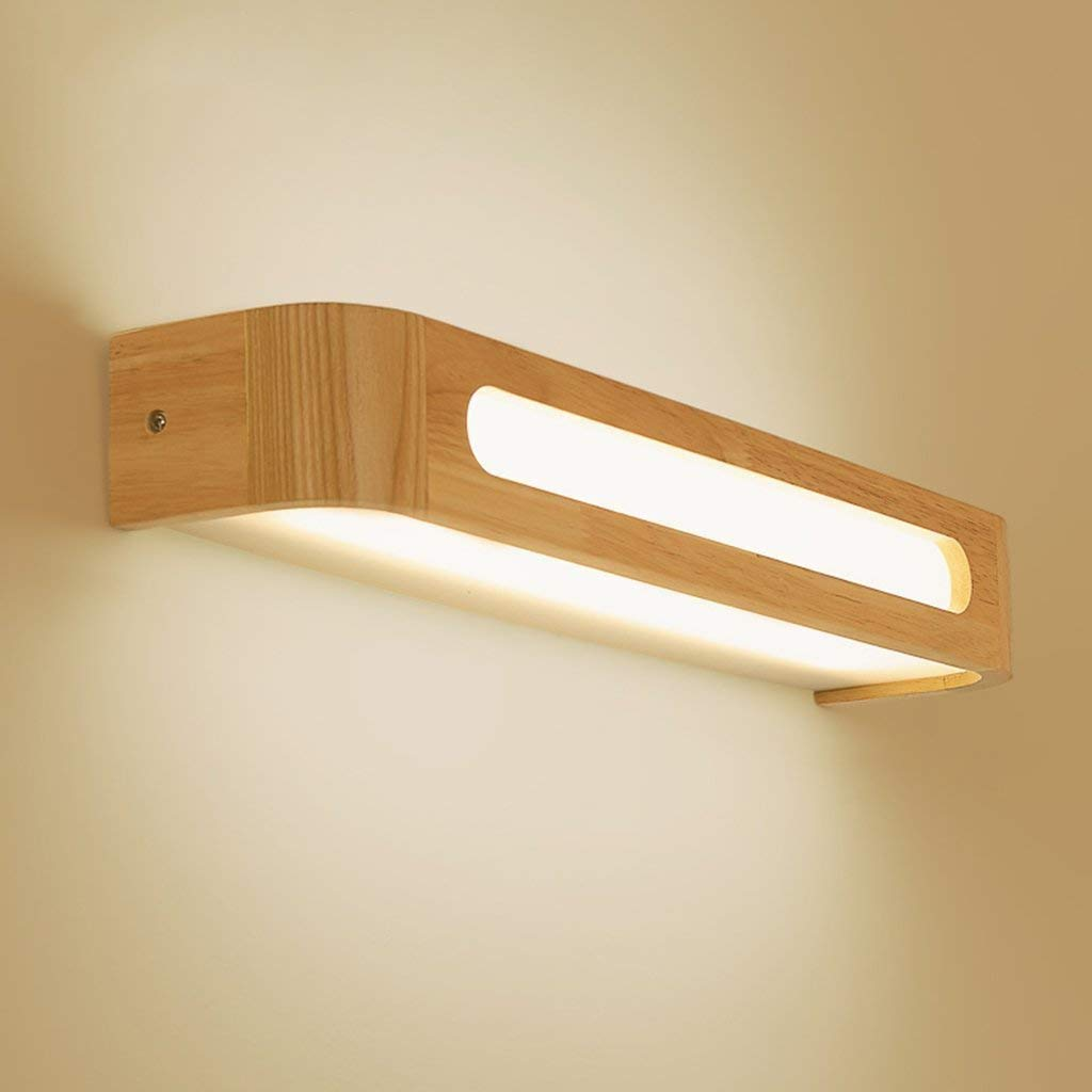 Mirror Lamps Home Spiegel aus massivem Holz (Farbe   Weiß Light-30cm)