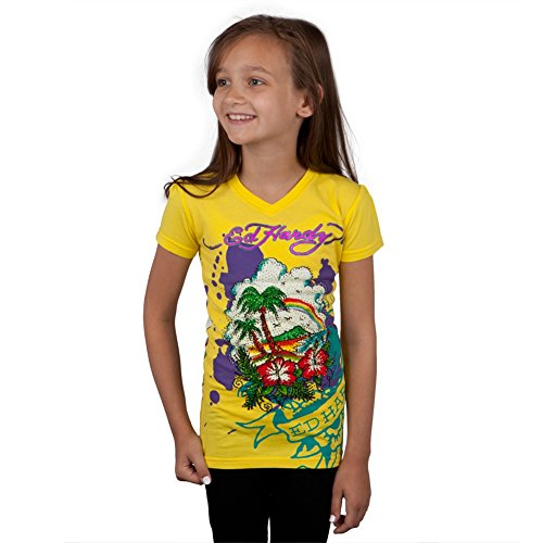 (Ed Hardy - Tropical Island Girls Youth T-Shirt - Youth Large)